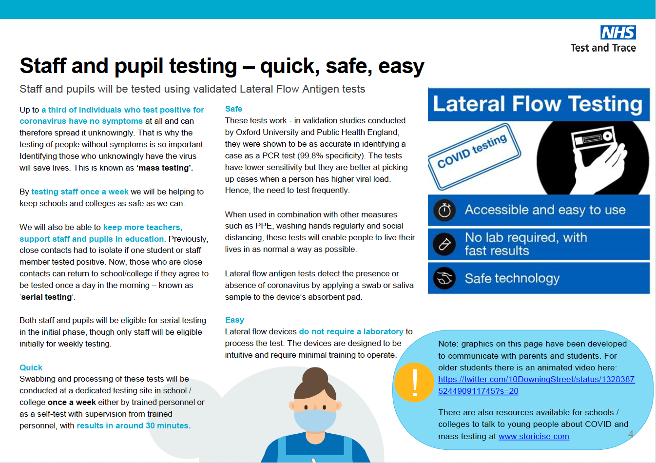 Covid-19 testing in schools information poster